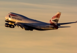 British Airways Boeing 747-400 sunset take off airplane picture