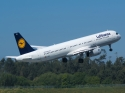 Lufthansa Airbus A321 jet airplane taking off